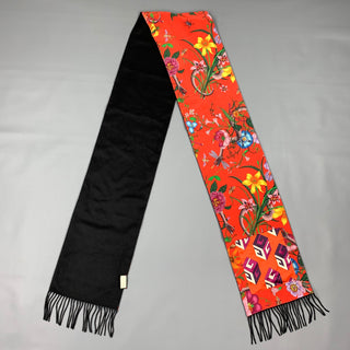 GUCCI Black & Red Silk / Cashmere Reversible Pocket Fringe Scarf