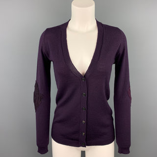 PERESTESO Size 6 Purple Knitted Argyle Virgin Wool Blend Cardigan