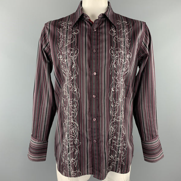 TWO A.M. Size L Burgundy Stripe Cotton Button Up Long Sleeve Shirt