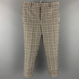 BLACK FLEECE Size 30 Black & White Plaid Wool / Cashmere Button Fly Dress Pants
