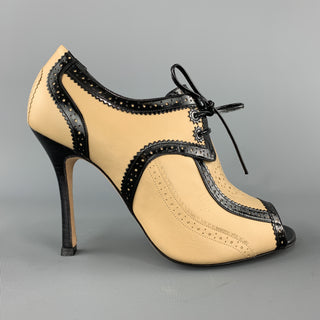 CAROLINA HERRERA Size 8 Beige & Back Leather Peep Toe Oxford Booties