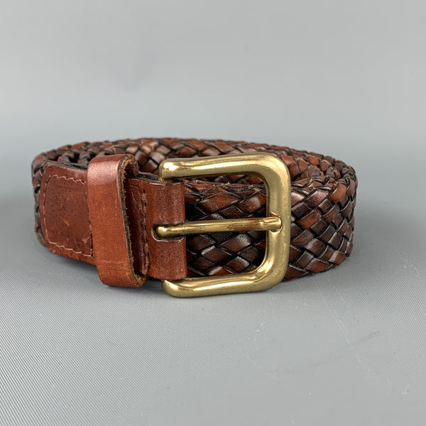 VINTAGE Sz 36 Woven Brown Leather Gold Brass Buckle Belt