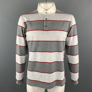 LORO PIANA Size XL Grey Stripe Cotton Half Buttoned Long Sleeve POLO