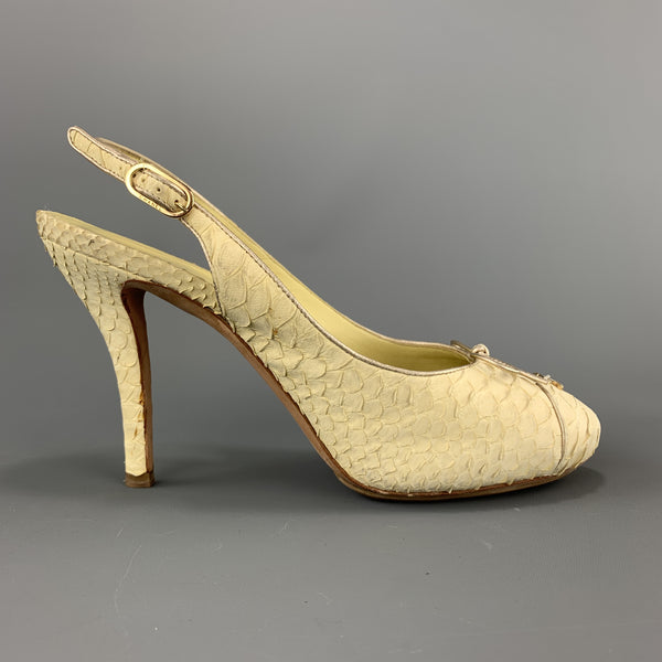 CHANEL Size 8.5 Pastel Yellow Snake Skin CC Slingback Pumps