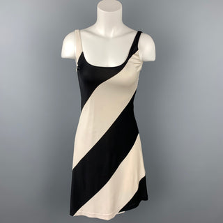 RALPH LAUREN Blue Label Size S Black & White Color Block Jersey Silk Tank Dress