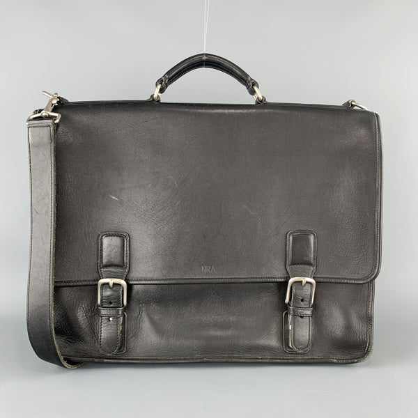 COACH Black Leather Shoulder Strap Double Closure Briefcase