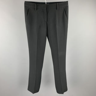 PRADA Size 6 Black Crepe Straight Leg Dress Pants
