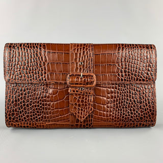 DRIES VAN NOTEN Brown Alligator Embossed Leather Clutch