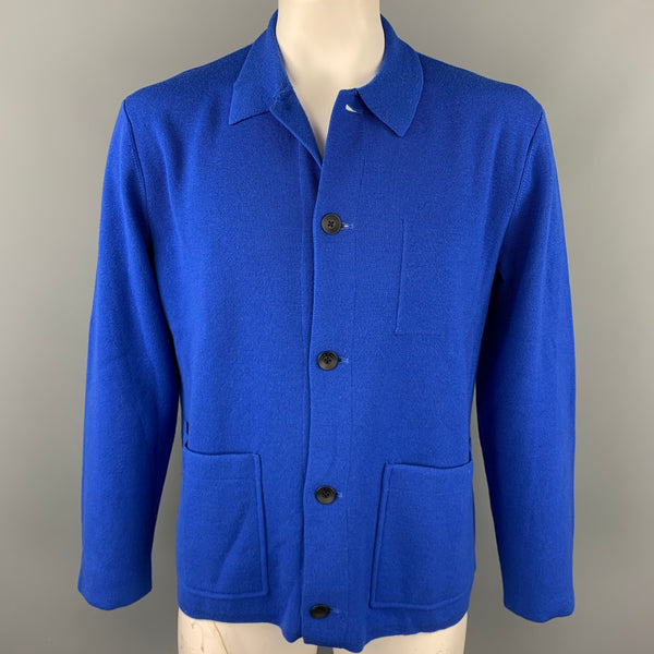 RAG & BONE Size L Royal Blue Knitted Wool Blend Buttoned Jacket