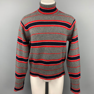 BLACK FLEECE Size L Grey & Navy Stripe Cashmere Turtleneck Sweater