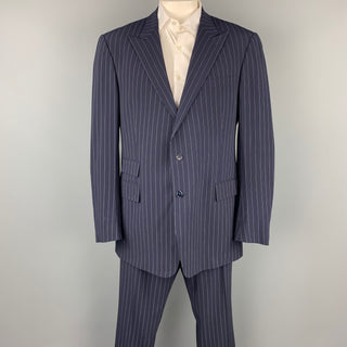 RALPH LAUREN Purple Label Navy Stripe Virgin Wool Peak Lapel Suit