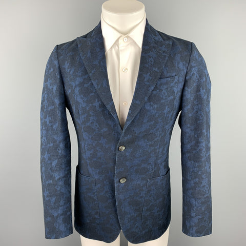 MESSAGERIE Size 36 Indigo Jacquard Cotton Peak Lapel Sport Coat