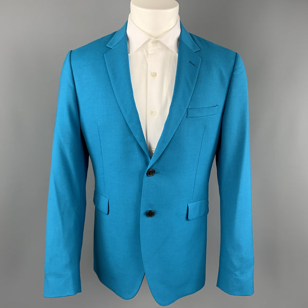 PAUL SMITH Size 40 Aqua Wool Notch Lapel Two Buttons Sport Coat