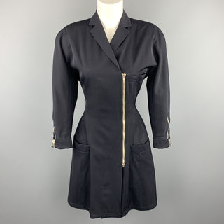 GIANNI VERSACE 1980s Size M Navy Side Zip Long Sleeve Blazer Dress
