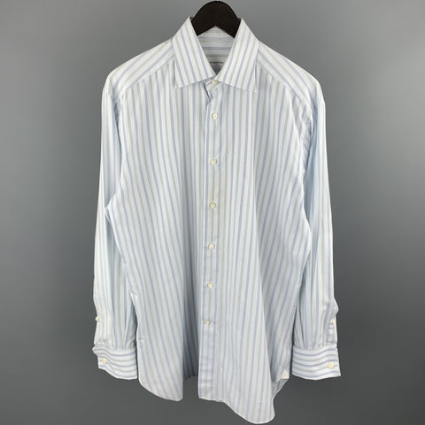 ERMENEGILDO ZEGNA Size M Light Grey Stripe Cotton French Cuff Long Sleeve Shirt