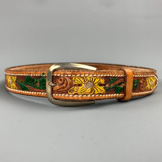 VINTAGE Size 32 Tan Floral Carved Leather Dallas Belt