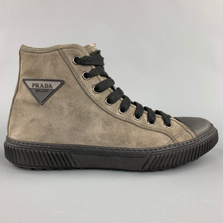 PRADA Size 9 Gray Suede High Top Lace Up Sneakers