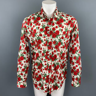 R. SCOTT FRENCH Size L Red & Green Floral Cotton Button Up Long Sleeve Shirt