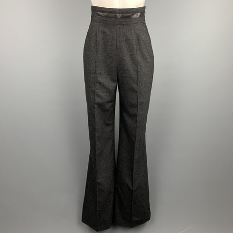WES GORDON Size 2 Charcoal Heather Wool Blend Wide Leg Dress Pants