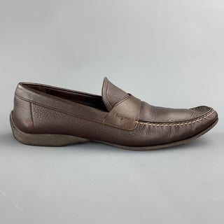 SALVATORE FERRAGAMO Size 10.5 Brown Leather Slip On Loafers