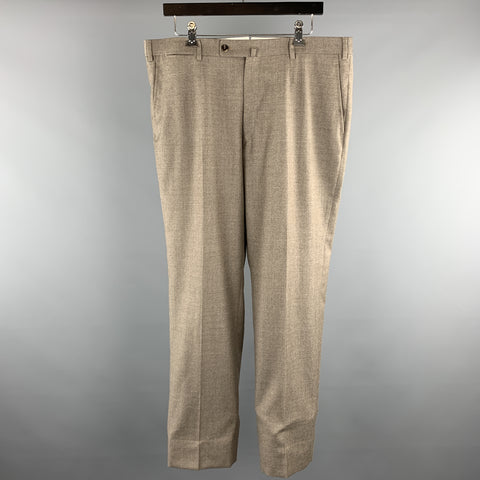 ISAIA Size 38 Taupe Solid Lana Wool Zip Fly Dress Pants