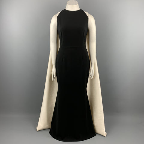 BIBHU MOHAPATRA Size 10 Black & White Silk Cape Train Back Sheath Gown