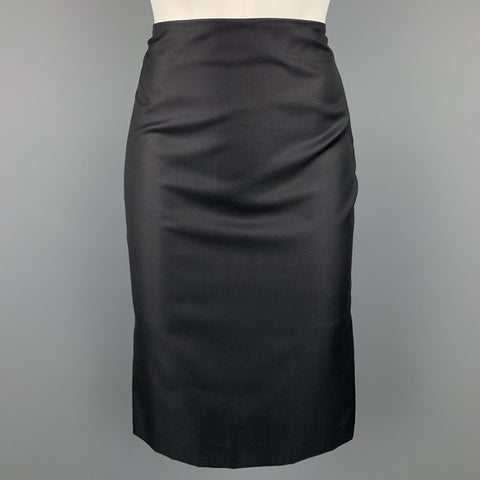 ALEXANDER MCQUEEN Size 6 Black Wool Blend Pencil Skirt