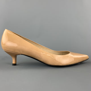 STUART WEITZMAN Size 9.5 Beige Patent Leather Kitten Heel Pumps