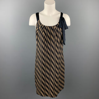 FLOREAT Size S Black & Beige Checkered Silk Shift Dress