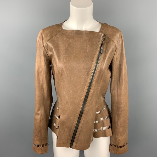 ELIE TAHARI Size S Brown Perforated Leather Asymmetrical Jacket