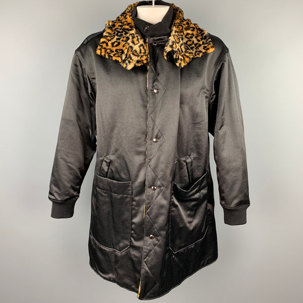 ENGINEERED GARMENTS Size L Black & Tan Leopard Print Polyester / Cotton Coat