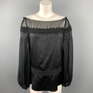 PHILOSOPHY di ALBERTA FERRETTI Size 6 Black Satin Silk Blouse