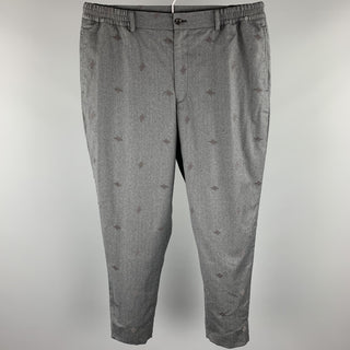 COMME des GARCONS HOMME DEUX Size L Charcoal Embroidery Wool Elastic Waistband Casual Pants