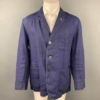 45rpm Size 45 Blue Contrast Stitch Linen Single Breasted Sport Coat