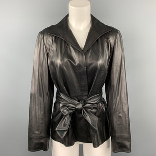 LAFAYETTE 148 Size 10 Black Leather Belted Hidden Button Jacket