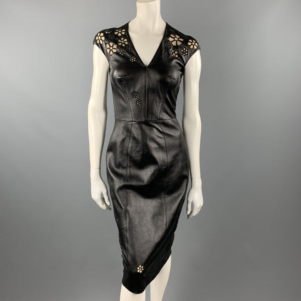 REEM ACRA Size 4 Black Leather Floral Cutout  Cocktail Dress