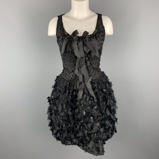 OSCAR DE LA RENTA 6 Black Sequin Mesh Silk Bows Buubble Skirt Cocktail Dress