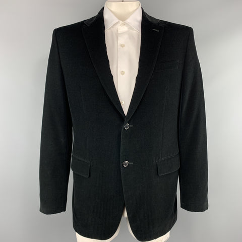 LOUIS VUITTON Size 44 Textured Black Cotton Velvet Notch Lapel Sport Coat