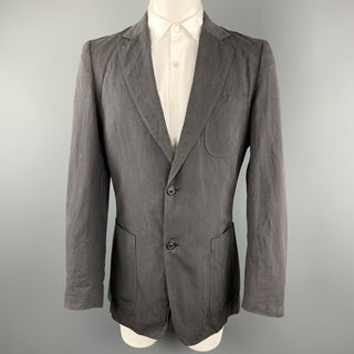 MAISON MARGIELA Size 40 Dark Gray Linen / Cotton Notch Lapel Patch Pockets Sport Coat