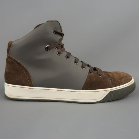 LANVIN Size 8 Brown Suede & Grey RUbber High Top Sneakers