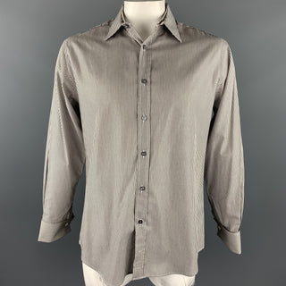 PAUL SMITH Size L Gray Stripe Cotton French Cuff Long Sleeve Shirt