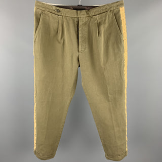 PALM ANGELS Size 38 Olive Cotton Gold Ribbon Stripe Button Fly Pleated Dress Pants