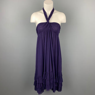 JEAN PAUL GAULTIER Size M Eggplant Purple Tulle Polimide Cocktail Dress
