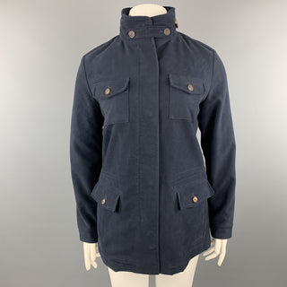 LORO PIANA Size 10 Navy Cotton High Collar Zip Hood Jacket