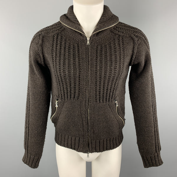 IMPERIAL Size M Brown Knitted Wool Blend High Collar Zip Up Jacket