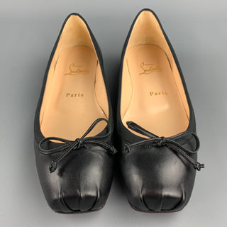 CHRISTIAN LOUBOUTIN Size 7.5 Black Leather Bow Ballet Bolshoi Flats