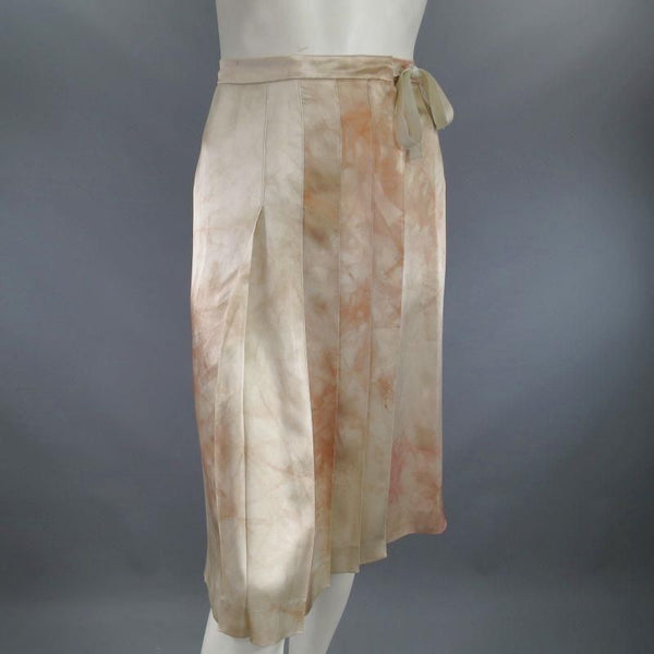 PRADA US 4 / IT 40 Beige & Blush Marbled Silk Satin Pleated Wrap Skirt