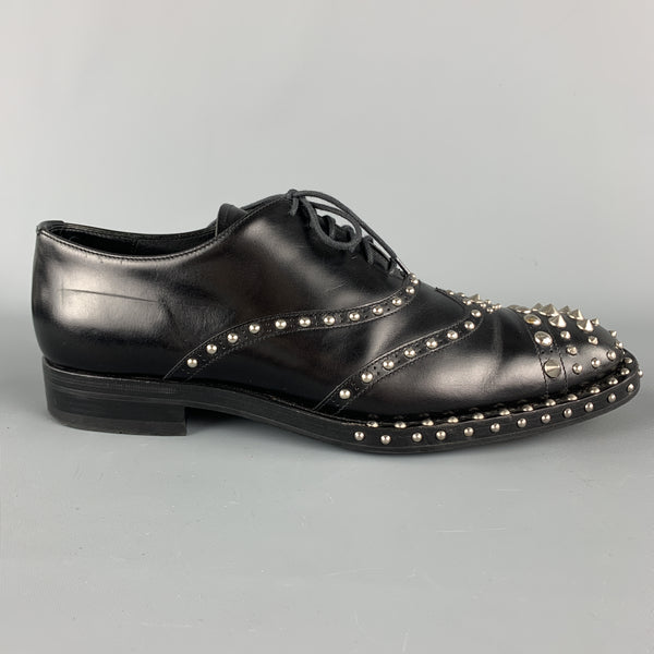PRADA F/W 09 Size10.5 Black Studded Leather Cap Toe Lace Up Shoes