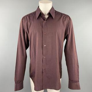 AGNES B. Size S Burgundy & Navy Stripe Cotton Button Up Long Sleeve Shirt