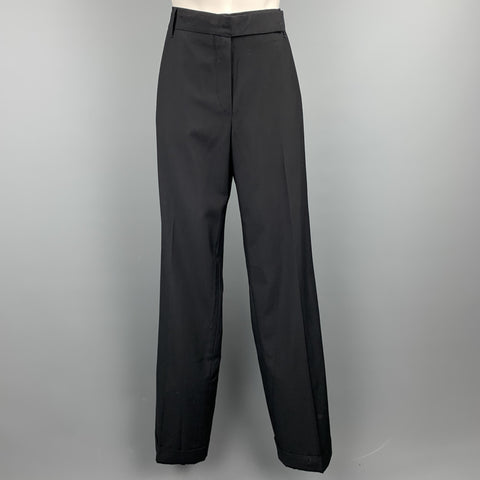JIL SANDER Size 6 Black Virgin Wool Wide Leg Dress Pants
